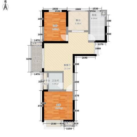 国耀花半里2室1厅1卫1厨92.00㎡户型图