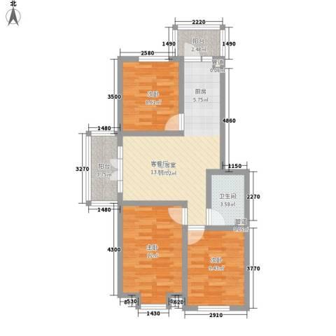 萧红书香苑3室0厅1卫0厨88.00㎡户型图