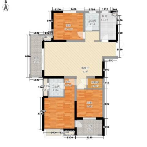 国耀花半里3室1厅2卫1厨135.00㎡户型图