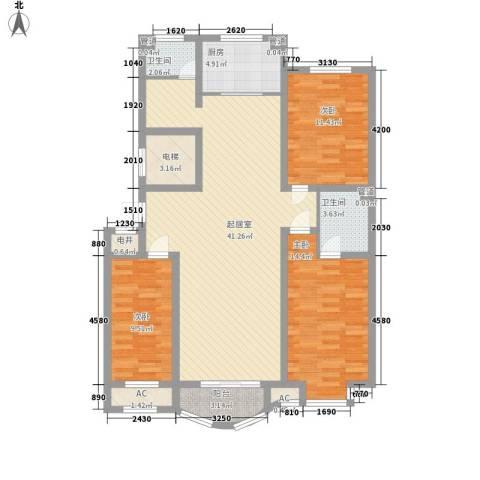 海景怡园3室0厅2卫1厨141.00㎡户型图