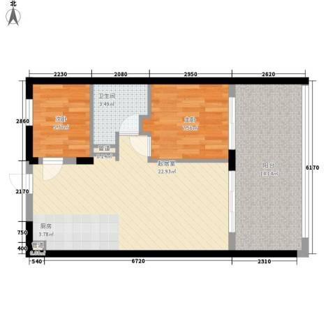 浙大网新・蝶恋海2室0厅1卫0厨76.00㎡户型图