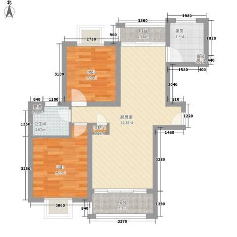 板桥北苑小区2室0厅1卫1厨75.00㎡户型图