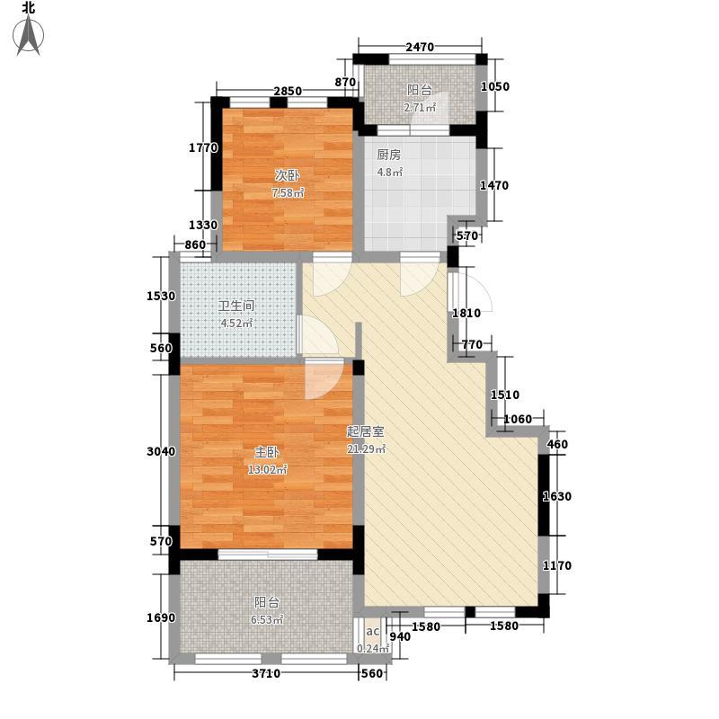 中大诺卡小镇88.00㎡中大诺卡小镇户型图三期1#、6#楼A-4户型2室2厅1卫1厨户型2室2厅1卫1厨