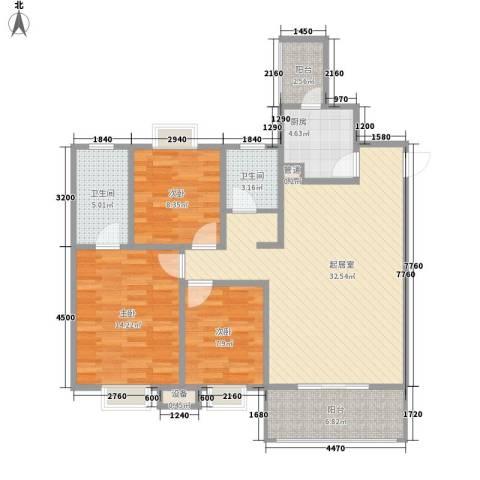 树高卡地亚3室0厅2卫1厨107.00㎡户型图