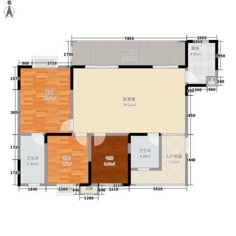 树高卡地亚3室0厅2卫1厨120.00㎡户型图