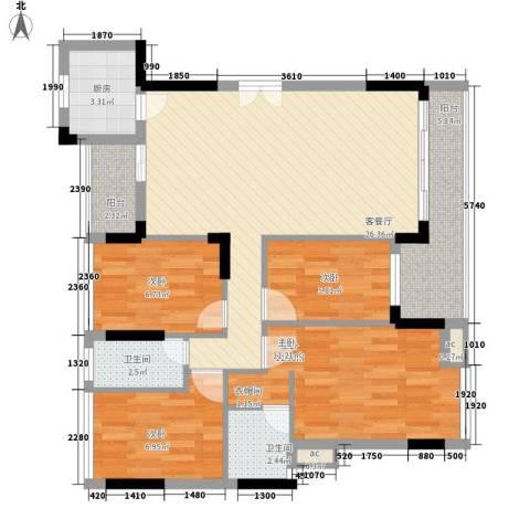 紫荆花园别墅4室1厅2卫1厨86.95㎡户型图