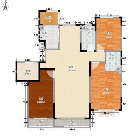 一品红城五期3室1厅2卫1厨126.00㎡户型图