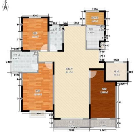一品红城五期3室1厅2卫1厨129.00㎡户型图