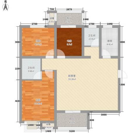 �灞雅苑3室0厅2卫1厨117.00㎡户型图