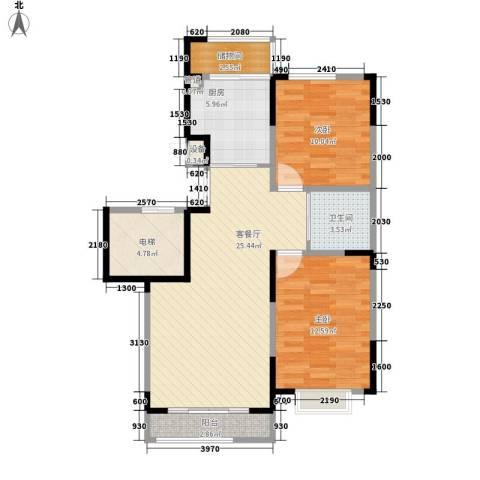 一品红城五期2室1厅1卫1厨86.00㎡户型图