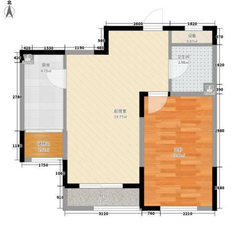 一品红城五期1室0厅1卫1厨57.00㎡户型图