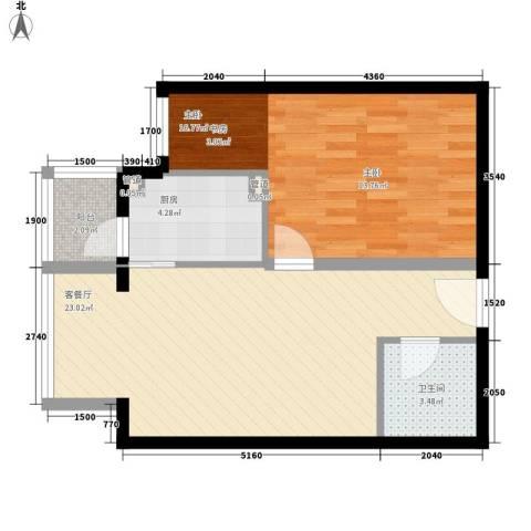 成远大厦1室1厅1卫1厨71.00㎡户型图