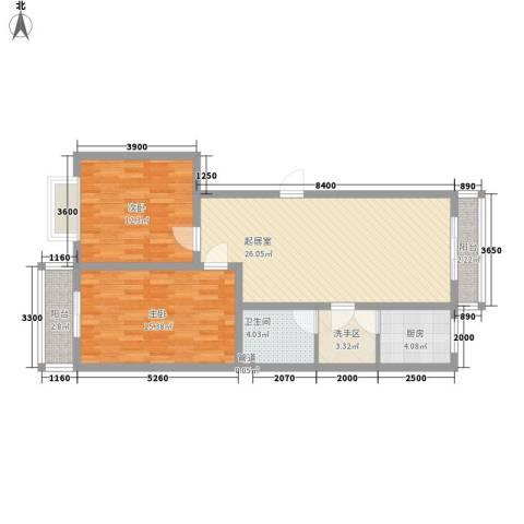 观庭2室0厅1卫1厨102.00㎡户型图