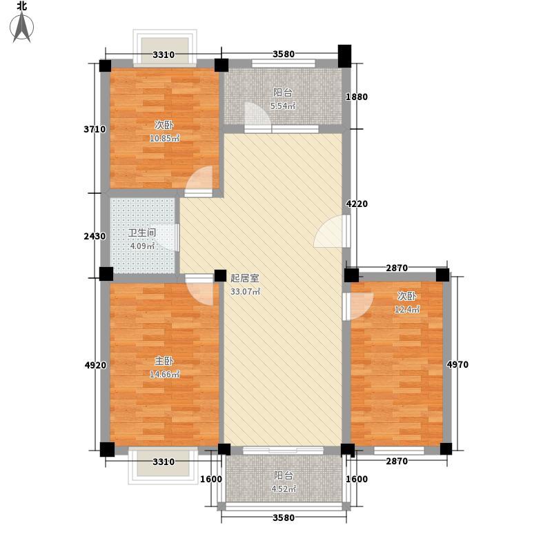 九洲城108.00㎡E户型3室2厅1卫1厨