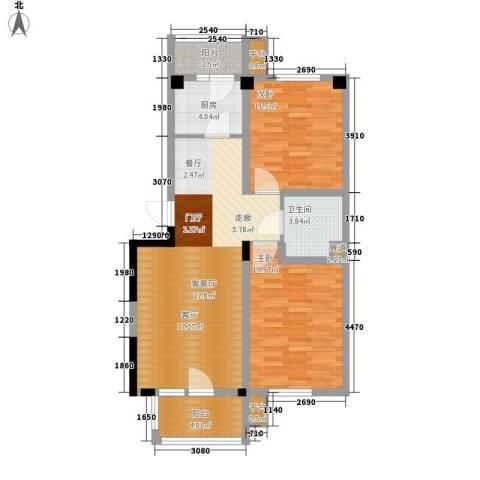 四季花苑二期绿地景城2室1厅1卫1厨89.00㎡户型图