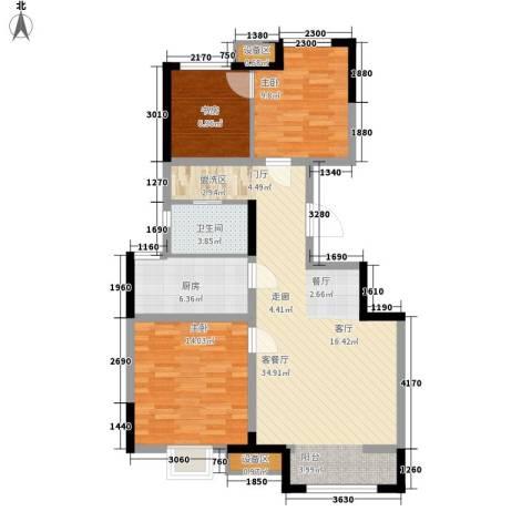 泰达风景3室1厅1卫1厨89.00㎡户型图