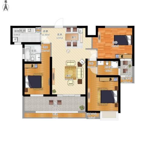 东方今典天汇中心3室1厅2卫1厨160.00㎡户型图