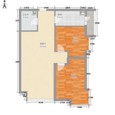 风华时代2室1厅1卫1厨97.00㎡户型图
