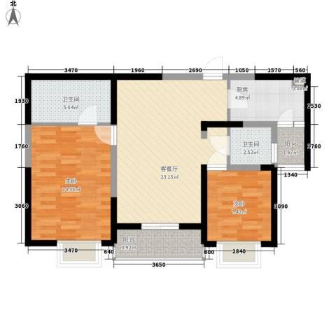A9公馆2室1厅2卫1厨93.00㎡户型图