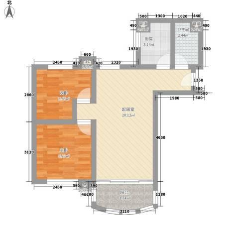 金碧花园碧水闲庭2室0厅1卫1厨67.00㎡户型图