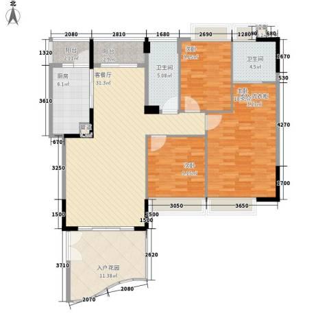 滨江花园3室1厅2卫1厨125.00㎡户型图