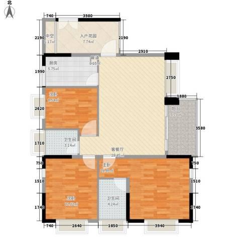 滨江花园3室1厅2卫1厨113.00㎡户型图