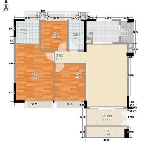 滨江花园3室1厅2卫1厨106.00㎡户型图