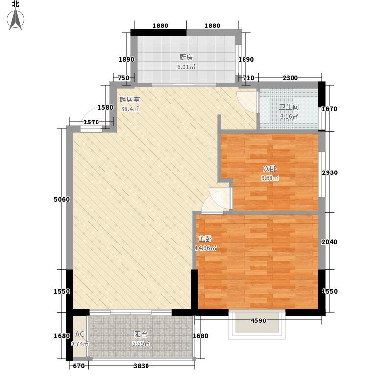金爵逸品4.35㎡D户型2室2厅1卫1厨