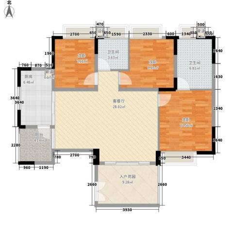 滨江花园3室1厅2卫1厨117.00㎡户型图