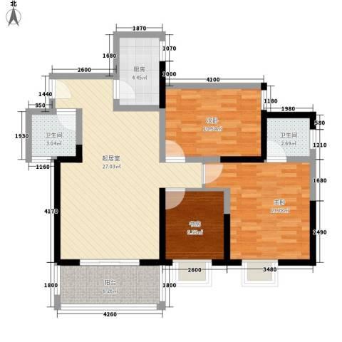锦里3室0厅2卫1厨106.00㎡户型图