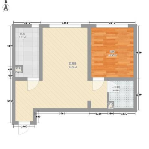 军景雅居项目1室0厅1卫1厨64.00㎡户型图