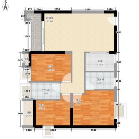 板桥北苑小区3室0厅2卫1厨121.00㎡户型图