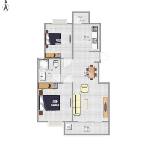 罗马假日2室1厅1卫1厨87.00㎡户型图