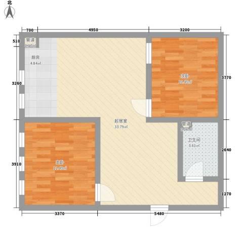 军景雅居项目2室0厅1卫0厨86.00㎡户型图