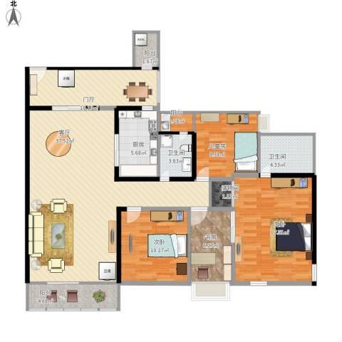 涪陵锦天龙都4室1厅2卫1厨146.00㎡户型图