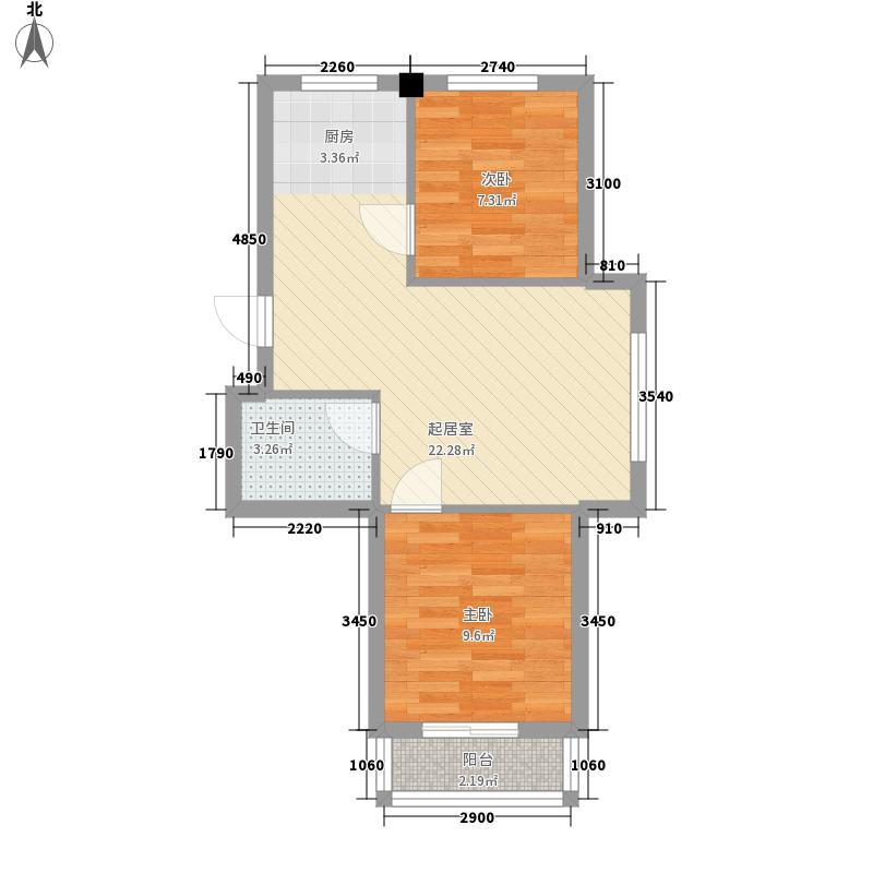 松林一品64.40㎡松林一品户型图1#、2#楼K户型2室1厅1厨户型2室1厅1厨