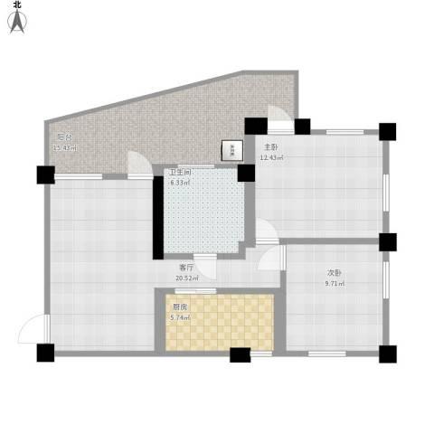 怡居新村2室1厅1卫1厨69.00㎡户型图