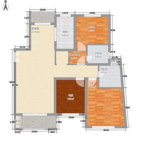 东苑新天地3室0厅2卫1厨138.00㎡户型图