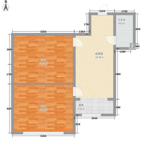 星海国际2室0厅1卫0厨92.00㎡户型图