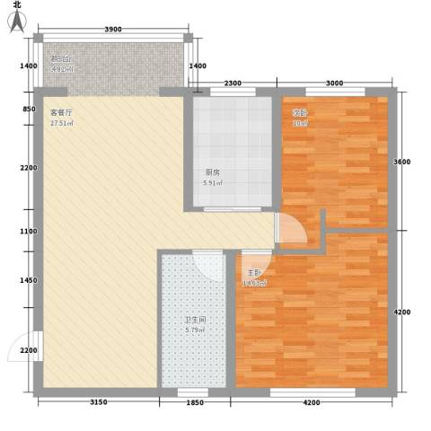 长城小区2室1厅1卫1厨97.00㎡户型图