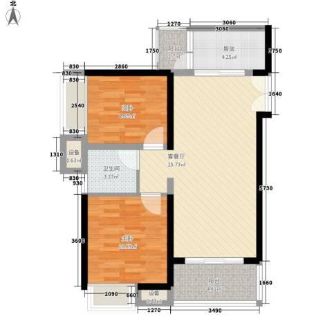 东莞长安万达广场2室1厅1卫1厨81.00㎡户型图