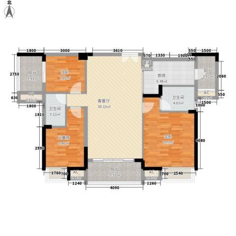 高正豪景花园3室1厅2卫1厨120.00㎡户型图