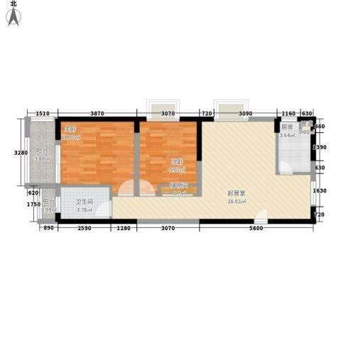 瑞和山水居2室0厅1卫1厨88.00㎡户型图