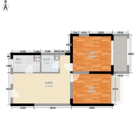 瑞和山水居2室0厅1卫1厨76.00㎡户型图