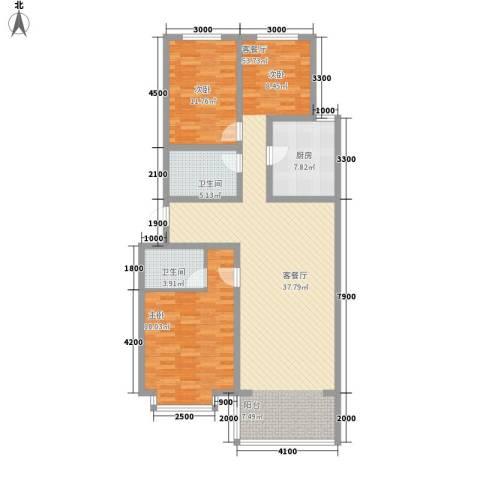 长城小区2室1厅2卫1厨142.00㎡户型图