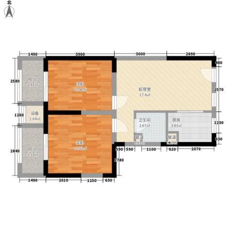 瑞和山水居2室0厅1卫1厨84.00㎡户型图