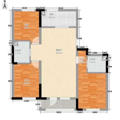 多恩居住岛3室1厅2卫1厨115.00㎡户型图