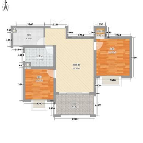 恒盛提香湾别墅2室0厅1卫1厨87.00㎡户型图