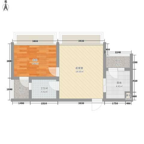 新城公馆国际公寓1室0厅1卫1厨56.00㎡户型图