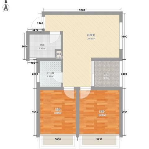 新城公馆国际公寓2室0厅1卫1厨74.00㎡户型图